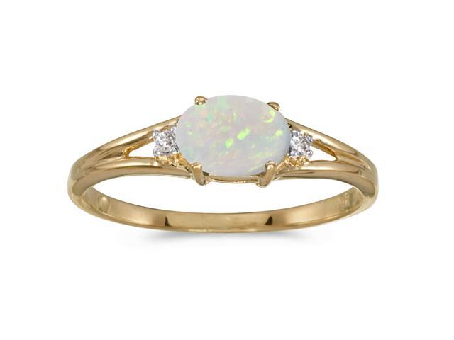 14k Yellow Gold Oval Opal And Diamond Ring (Size 10)