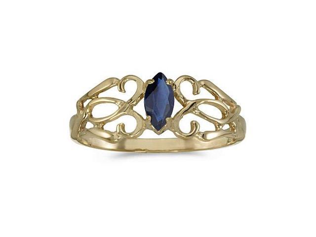 10k Yellow Gold Marquise Sapphire Filagree Ring (Size 9)