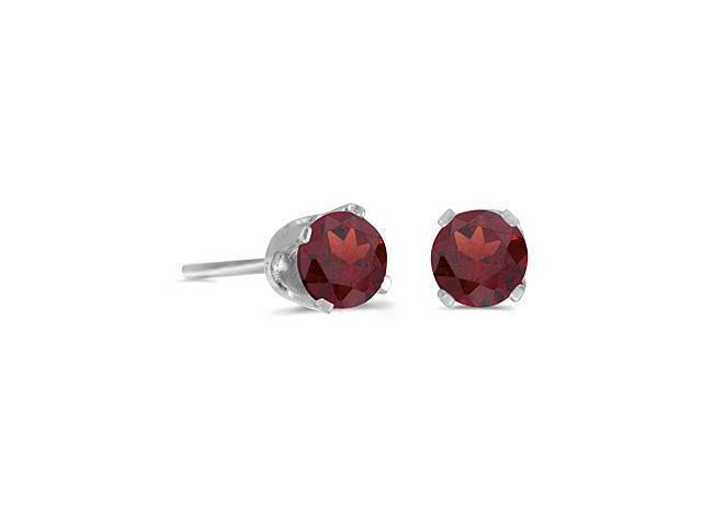 4 mm Round Garnet Screw-back Stud Earrings in 14k White Gold