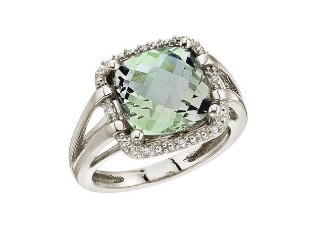 14K White Gold 10 mm Green Amethyst and Diamond Rope Ring (Size 8)