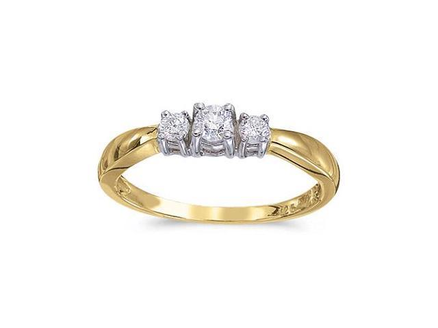 14k Yellow Gold 0.25 Ct Three Stone Diamond Ring (Size 5)