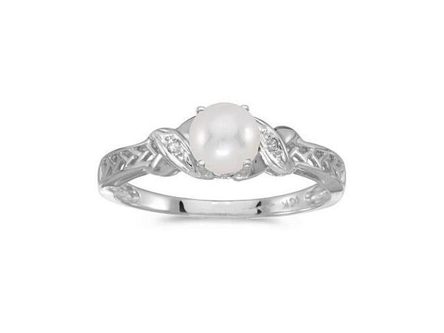 10k White Gold Freshwater Cultured Pearl And Diamond Ring (Size 10)
