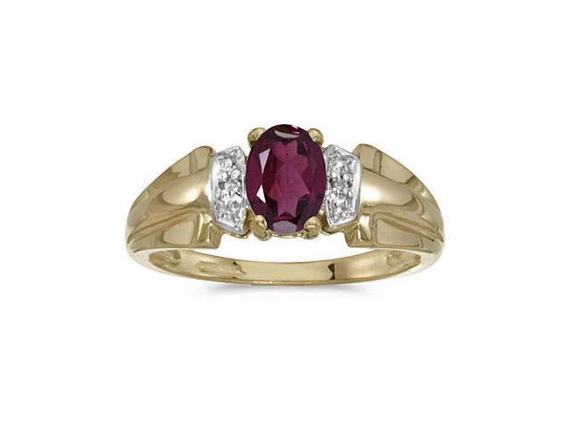 10k Yellow Gold Oval Rhodolite Garnet And Diamond Ring (Size 6.5)
