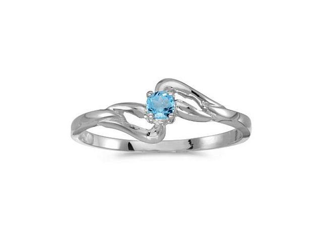 10k White Gold Round Blue Topaz Ring (Size 4.5)