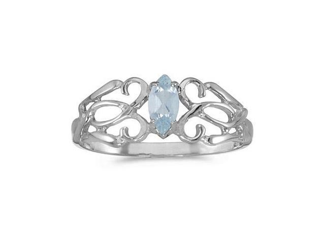 10k White Gold Marquise Aquamarine Filagree Ring (Size 9)
