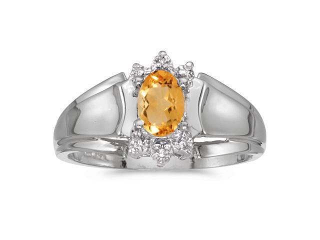 14k White Gold Oval Citrine And Diamond Ring (Size 6)