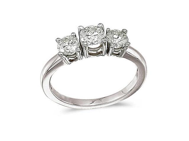 14k White Gold 1.00 Ct Three Stone Diamond Ring (Size 5.5)
