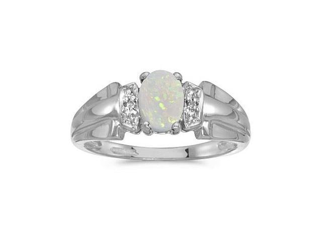 10k White Gold Oval Opal And Diamond Ring (Size 10)