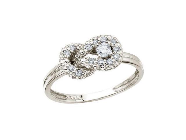 14K White Gold Fashion Knot Diamond Ring (Size 8.5)
