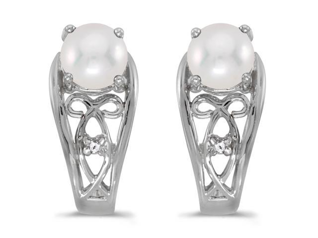 14k White Gold Freshwater Cultured Pearl And Diamond Earrings