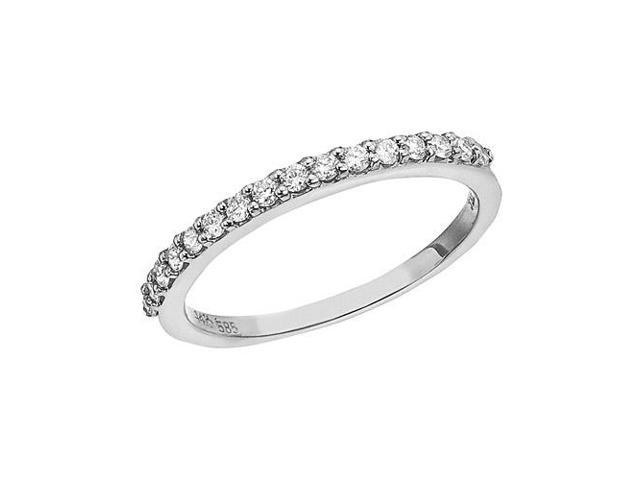 14K White Gold Diamond Diamond Band Ring (Size 5)