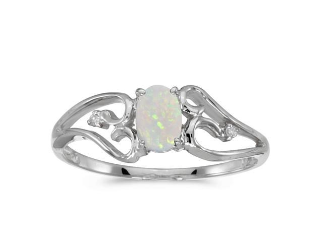 10k White Gold Oval Opal And Diamond Ring (Size 8)