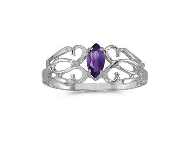 14k White Gold Marquise Amethyst Filagree Ring (Size 6)
