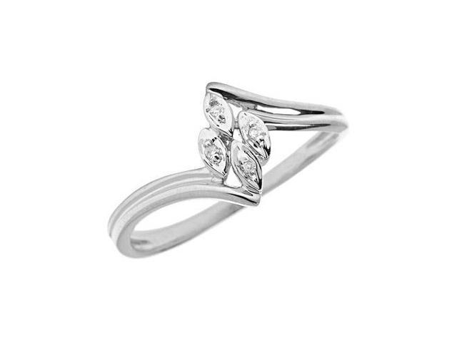 14K White Gold Diamond Leaf Ring (Size 7)