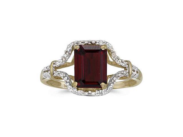 14k Yellow Gold Emerald-cut Garnet And Diamond Ring (Size 5)