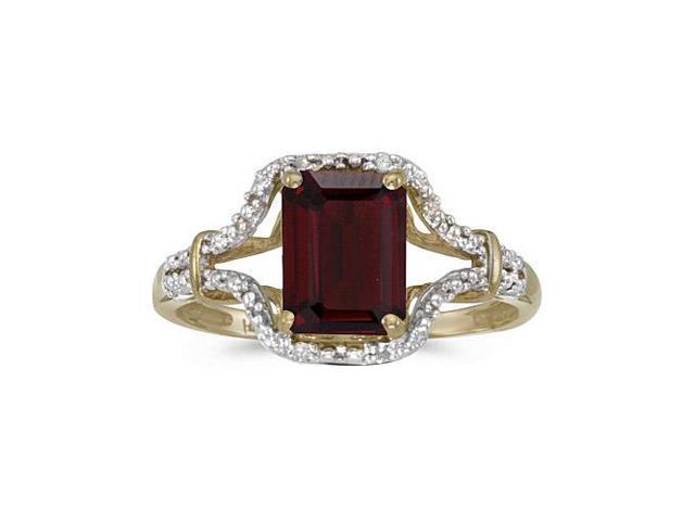 14k Yellow Gold Emerald-cut Garnet And Diamond Ring (Size 7.5)