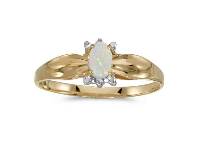 10k Yellow Gold Oval Opal And Diamond Ring (Size 4.5)