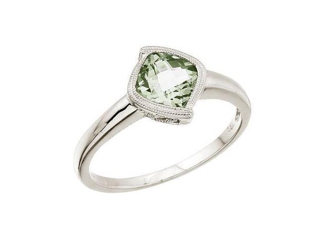 14K White Gold 6 mm Cushion Green Amethyst Ring (Size 9)