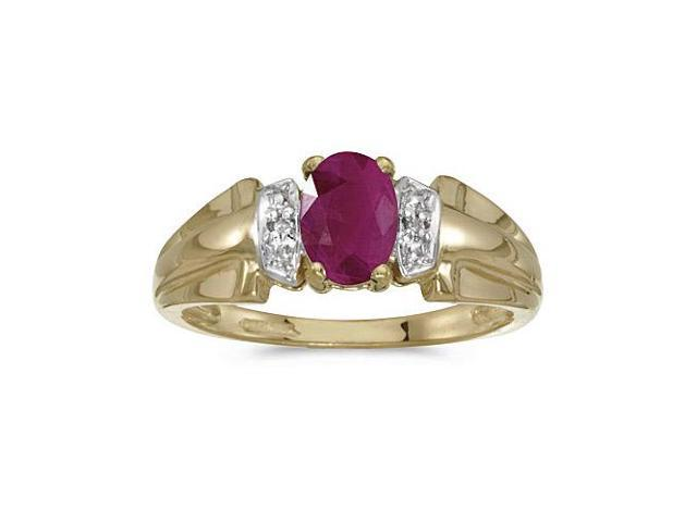 10k Yellow Gold Oval Ruby And Diamond Ring (Size 6)
