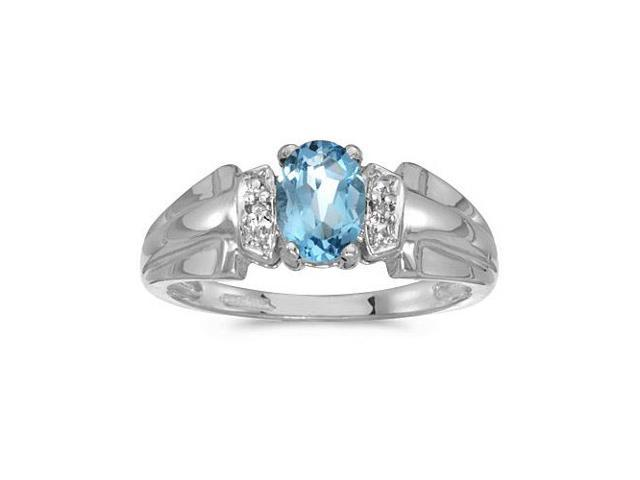 10k White Gold Oval Blue Topaz And Diamond Ring (Size 5.5)