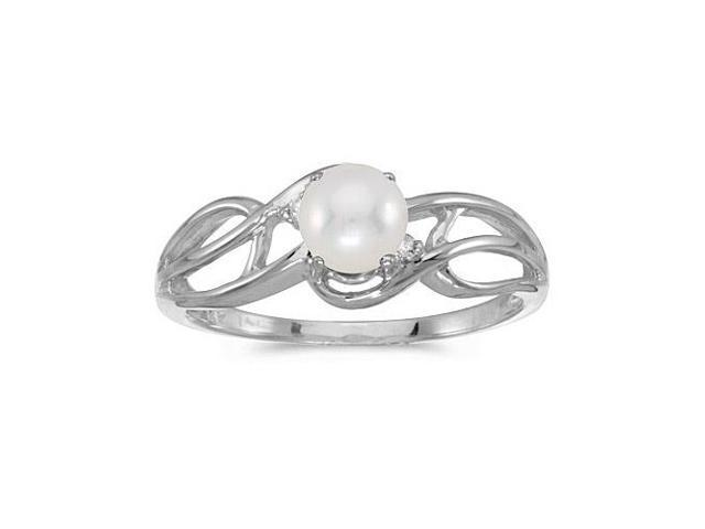 10k White Gold Freshwater Cultured Pearl And Diamond Curve Ring (Size 6.5)