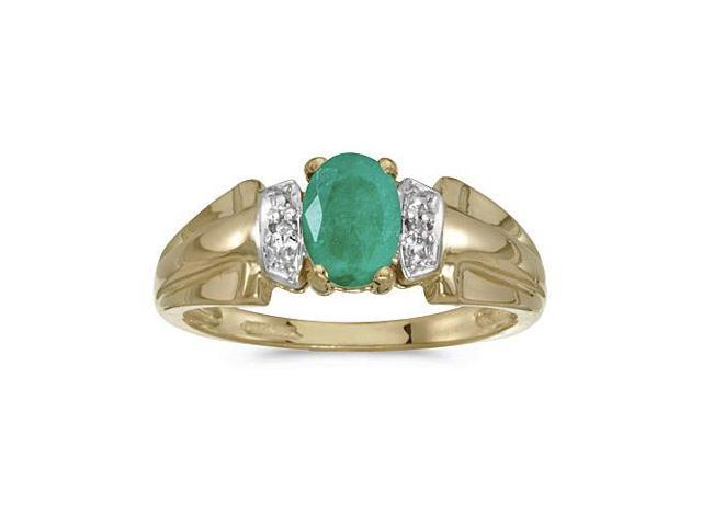 10k Yellow Gold Oval Emerald And Diamond Ring (Size 5.5)
