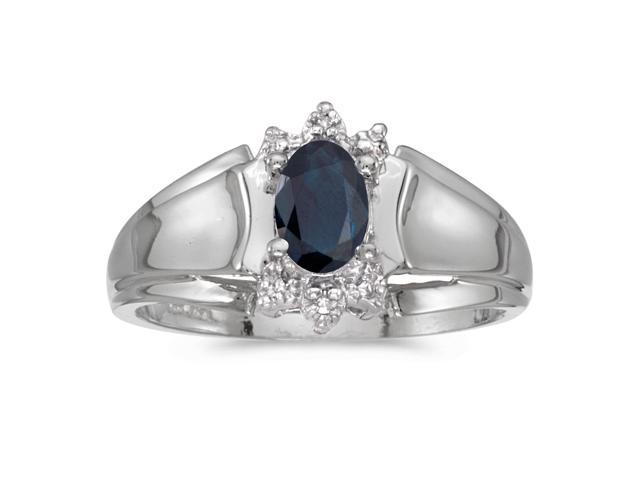 14k White Gold Oval Sapphire And Diamond Ring (Size 8.5)