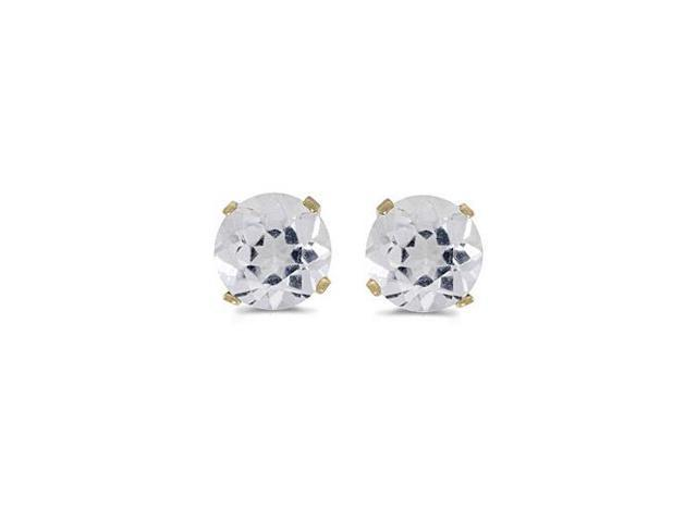 5 mm Natural Round White Topaz Stud Earrings Set in 14k Yellow Gold