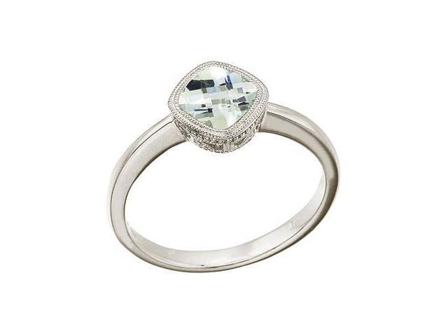 14K White Gold 6 mm Cushion Green Amethyst Ring (Size 5)