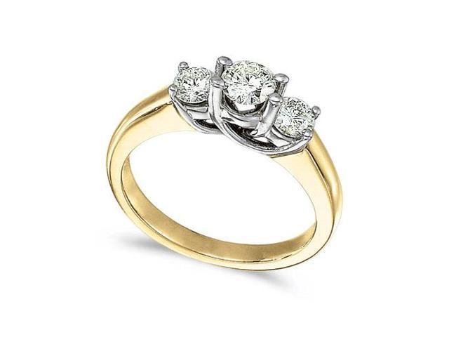 14k Yellow Gold 0.75 Ct Three Stone Trellis Diamond Ring (Size 5.5)