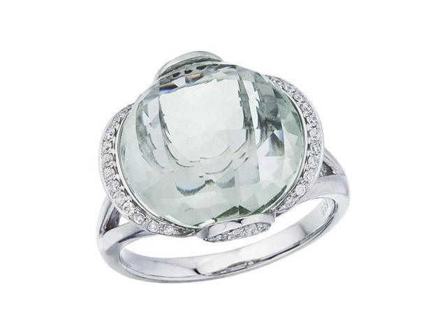 14K White Gold Green Amethyst and Diamond Dome Ring (Size 8.5)