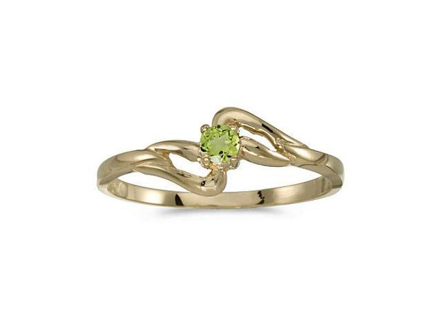 10k Yellow Gold Round Peridot Ring (Size 7)