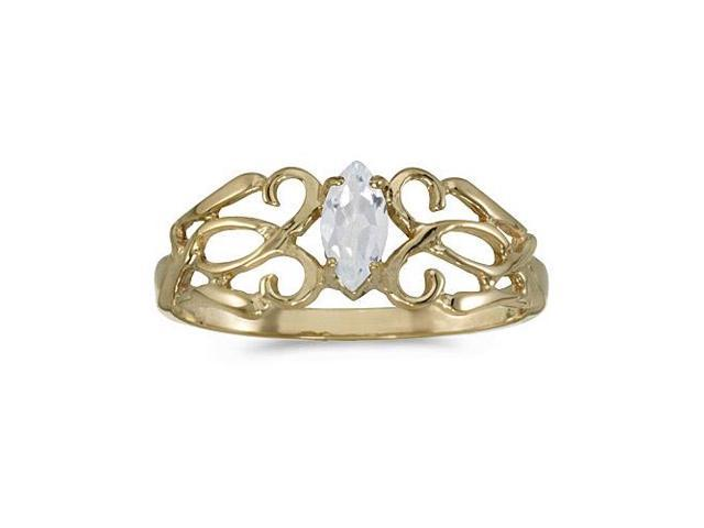 14k Yellow Gold Marquise White Topaz Filagree Ring (Size 7)