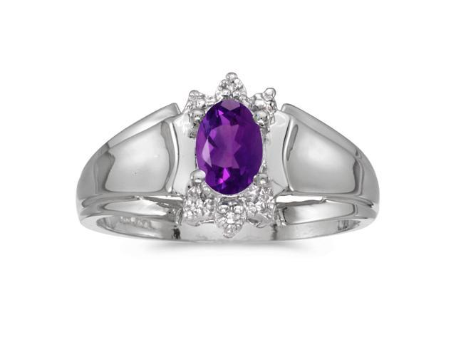 14k White Gold Oval Amethyst And Diamond Ring (Size 6)
