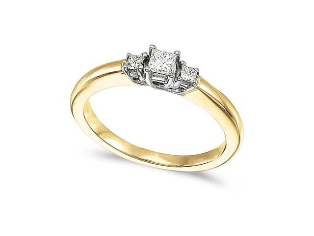 14k Yellow Gold 0.25 Ct Three Stone Trellis Diamond Ring (Size 6.5)