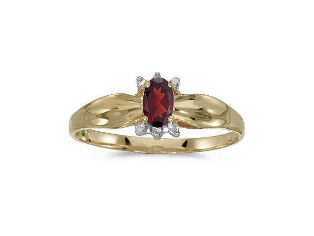 14k Yellow Gold Oval Garnet And Diamond Ring (Size 9)