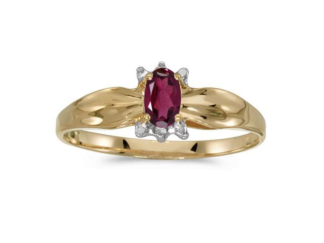 10k Yellow Gold Oval Rhodolite Garnet And Diamond Ring (Size 4.5)