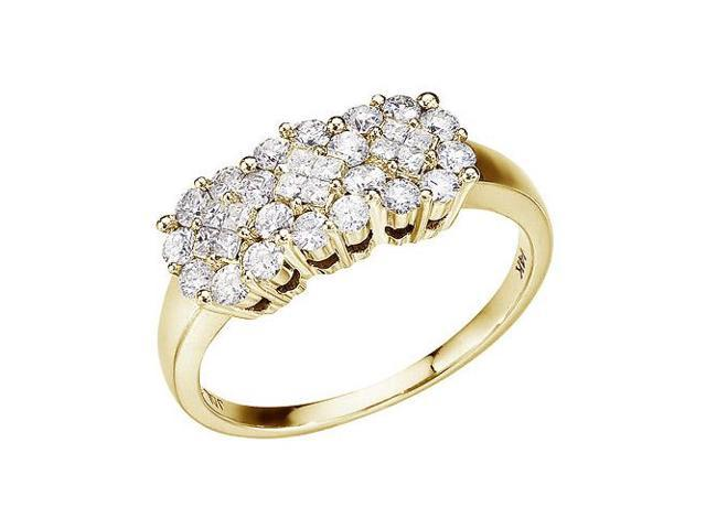 14K Yellow Gold .75 Ct Diamond Cluster Ring (Size 4.5)