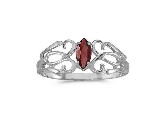 10k White Gold Marquise Garnet Filagree Ring (Size 8)