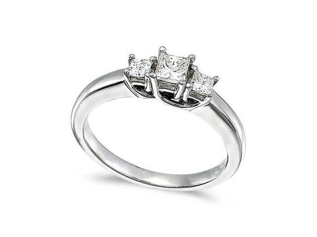 14k White Gold 0.50 Ct Three Stone Trellis Diamond Ring (Size 7)