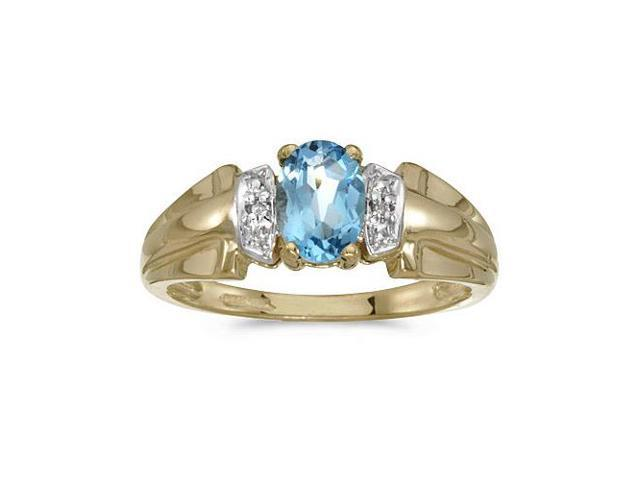 14k Yellow Gold Oval Blue Topaz And Diamond Ring (Size 5)