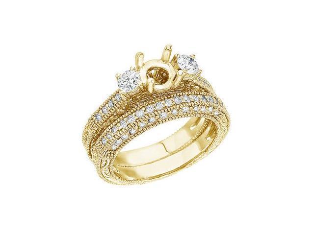 14K Yellow Gold 1 Ct Fashion Bridal Diamond Ring Set (Size 8.5)