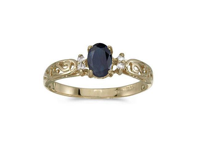 10k Yellow Gold Oval Sapphire And Diamond Ring (Size 5.5)