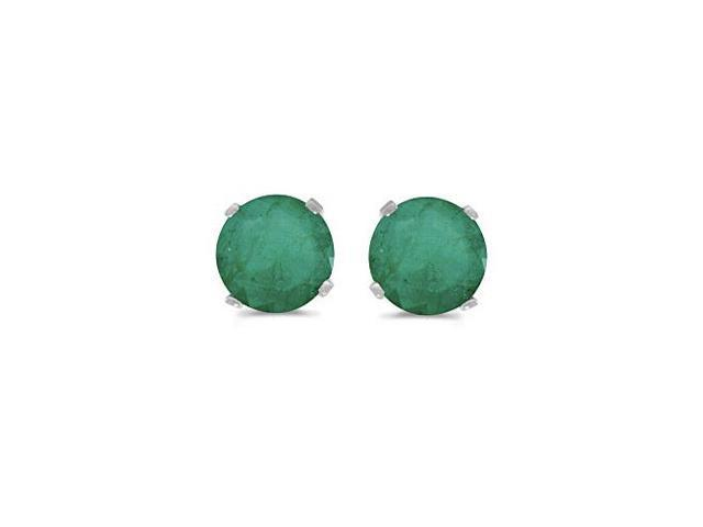 5 mm Natural Round Emerald Stud Earrings Set in 14k White Gold
