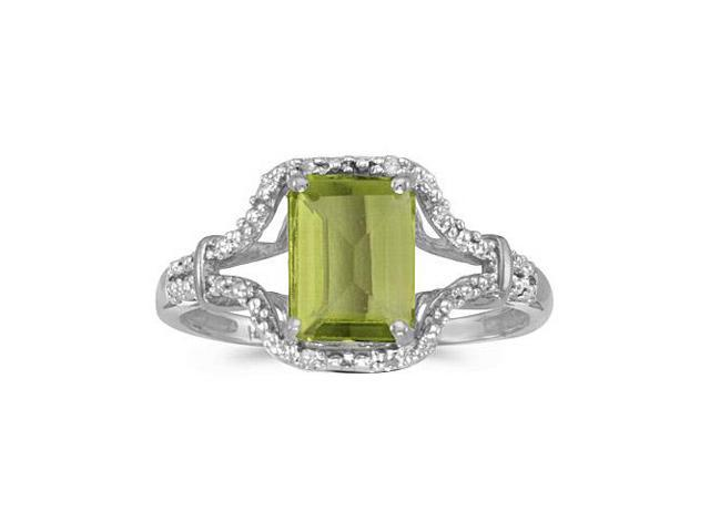 10k White Gold Emerald-cut Peridot And Diamond Ring (Size 7)