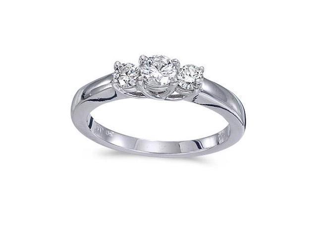 14k White Gold 0.50 Ct Three Stone Trellis Diamond Ring (Size 7.5)