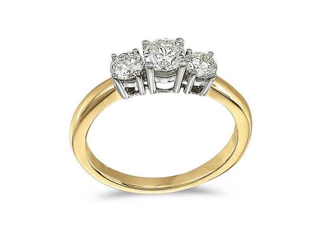 14k Yellow Gold 0.75 Ct Three Stone Diamond Ring (Size 6)