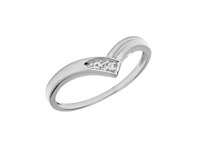 14K White Gold Diamond Chevron Ring (Size 6)