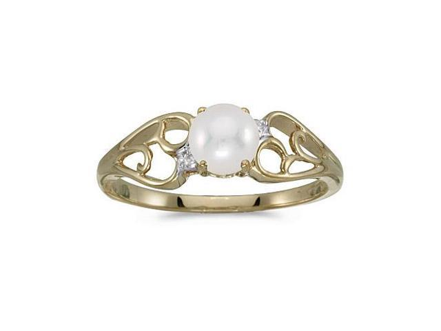10k Yellow Gold Freshwater Cultured Pearl And Diamond Ring (Size 9)