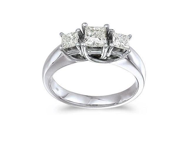 14k White Gold 1.00 Ct Three Stone Trellis Diamond Ring (Size 5.5)